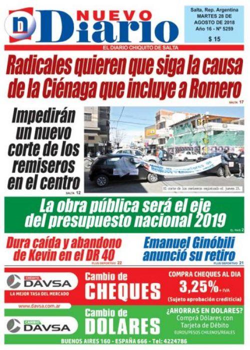 Tapa del 28/08/2018 Nuevo Diario de Salta