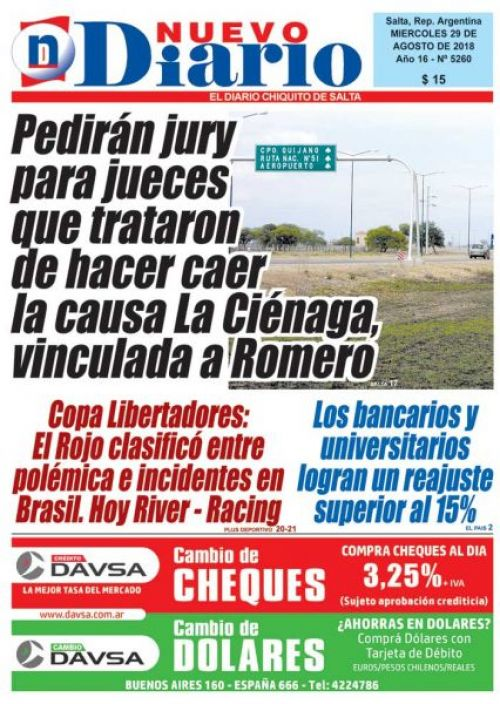Tapa del 29/08/2018 Nuevo Diario de Salta