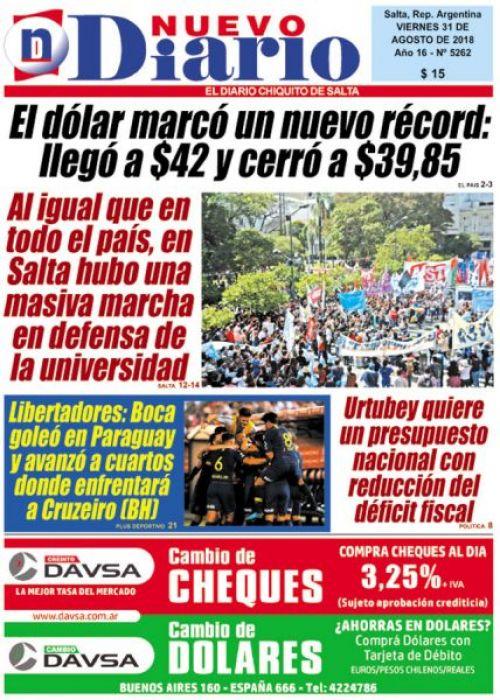 Tapa del 31/08/2018 Nuevo Diario de Salta
