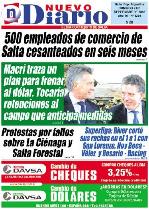Tapa del 02/09/2018 Nuevo Diario de Salta