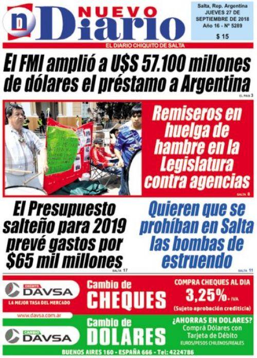 Tapa del 27/09/2018 Nuevo Diario de Salta