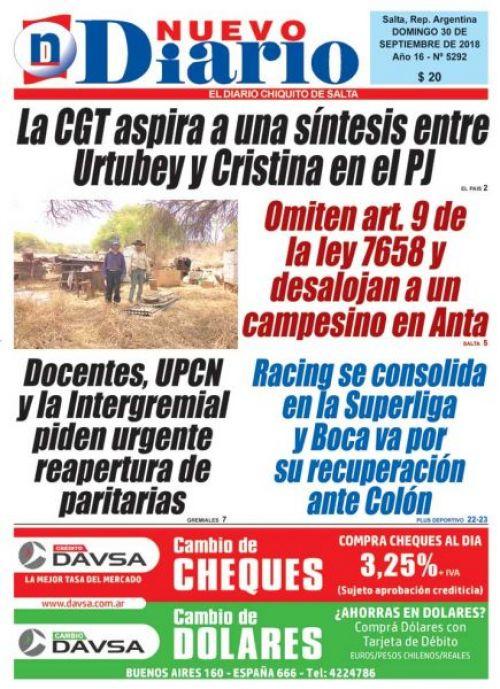 Tapa del 30/09/2018 Nuevo Diario de Salta