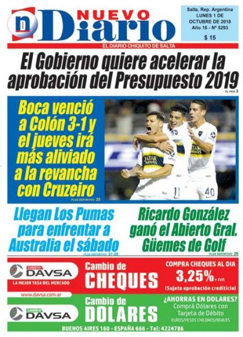Tapa del 01/10/2018 Nuevo Diario de Salta