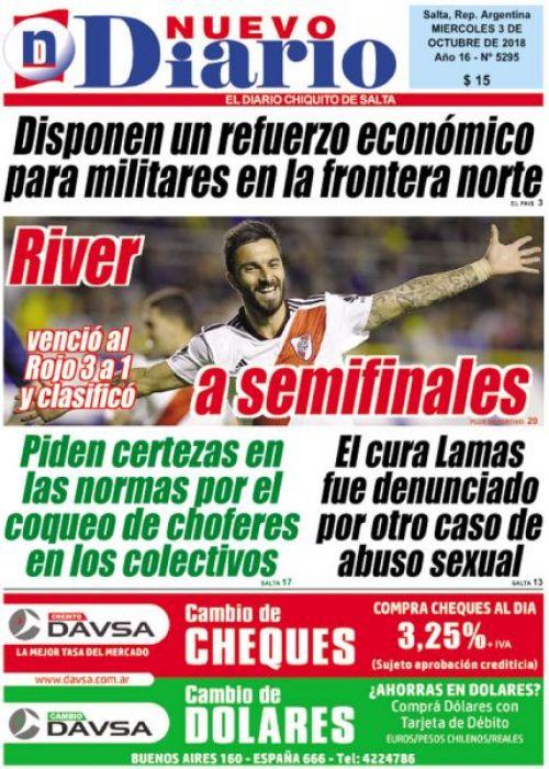 Tapa del 03/10/2018 Nuevo Diario de Salta