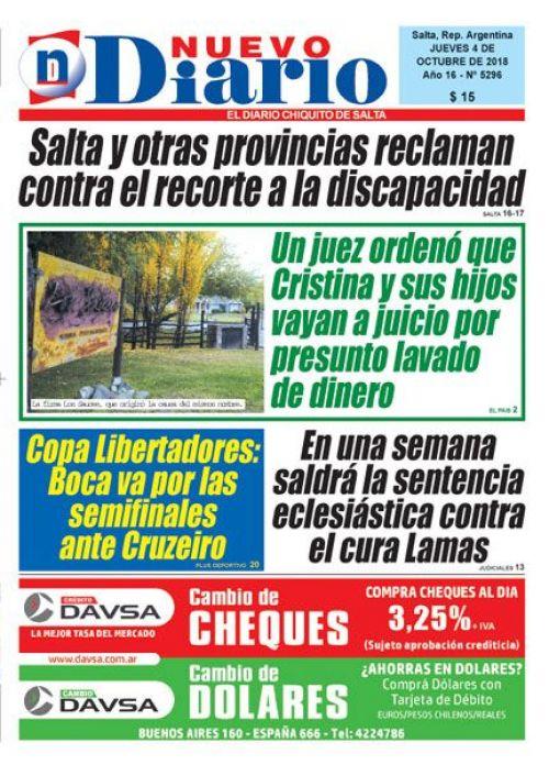 Tapa del 04/10/2018 Nuevo Diario de Salta