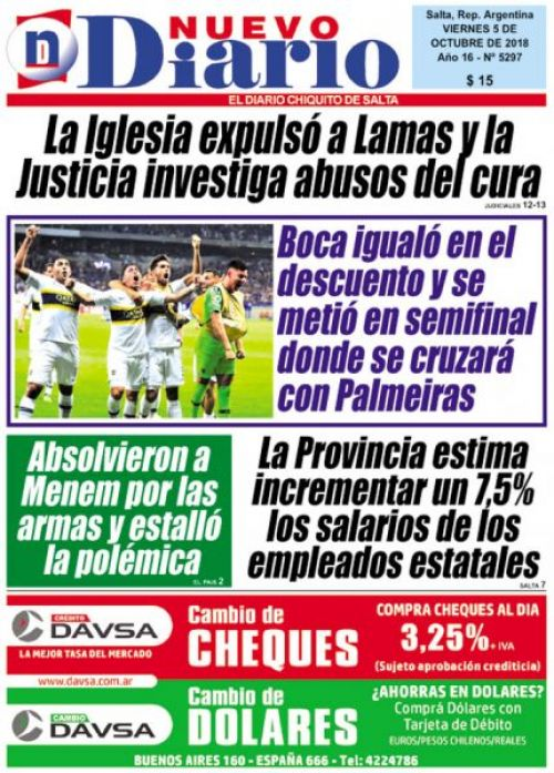 Tapa del 05/10/2018 Nuevo Diario de Salta