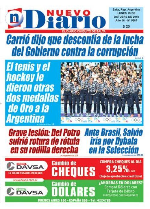 Tapa del 15/10/2018 Nuevo Diario de Salta