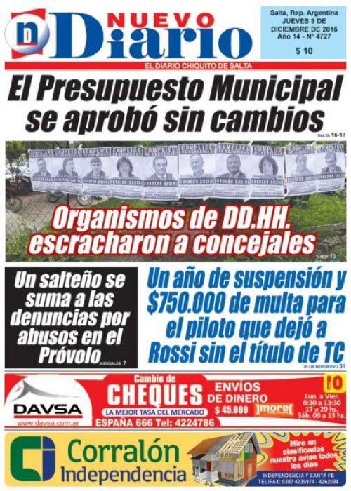 Tapa del 08/12/2016 Nuevo Diario de Salta