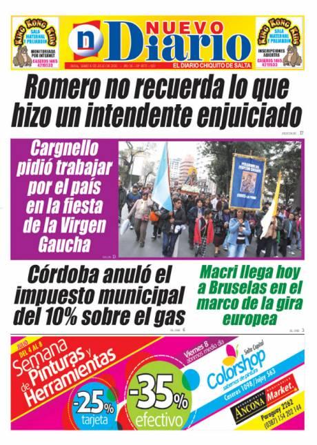 Tapa del 04/07/2016 Nuevo Diario de Salta