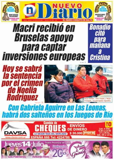 Tapa del 05/07/2016 Nuevo Diario de Salta