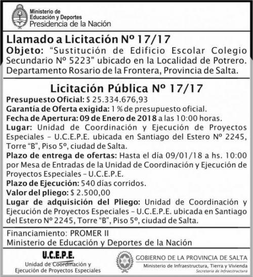Licitación: Licitación Pública Nº 17