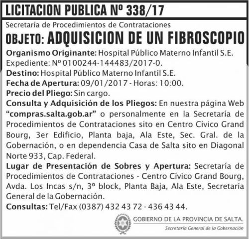 Licitación: Licitación Pública Nº 338