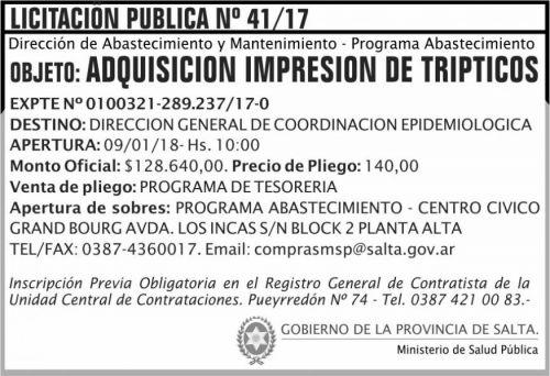 Licitación: Licitación Pública Nº 41