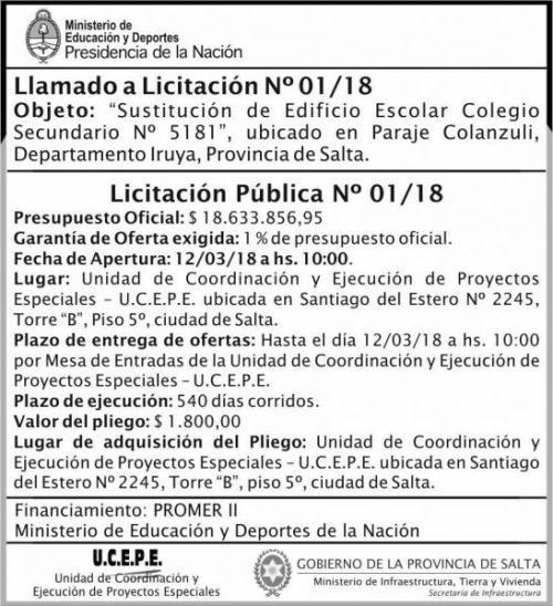 Licitación: Licitacion Publica 01 MEDN Ucepe