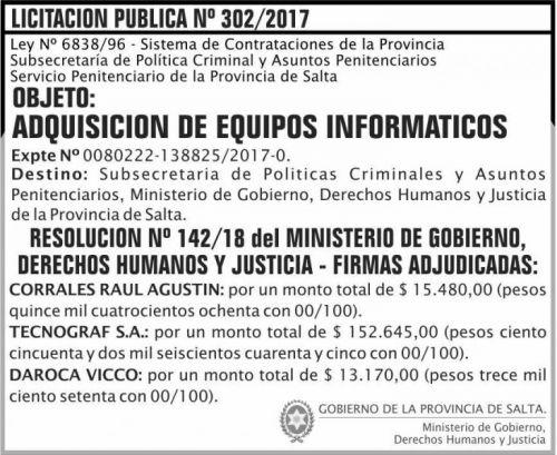Licitación: Licitacion Publica Adjudicada 302 SPPS