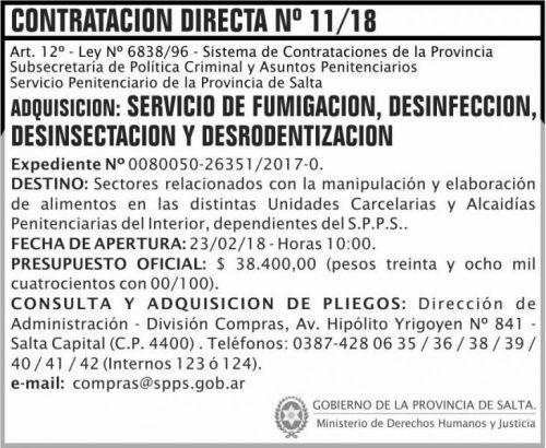 Concurso de Precios: Contratacion Directa 11 SPPS MDHJ