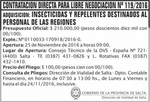 Compra Directa: Contratación Directa Para la Libre Negociación Nº 119/2016