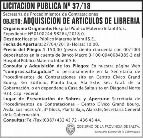 Licitación: Licitacion Publica 37 SGG HPMI