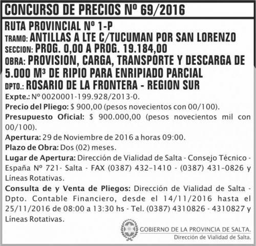 Concurso de Precios: Concurso de Precios Nº 69/2016