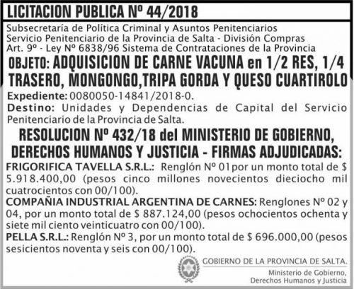 Licitación: Licitacion Publica Adjudicada 44 SPPS MDHJ