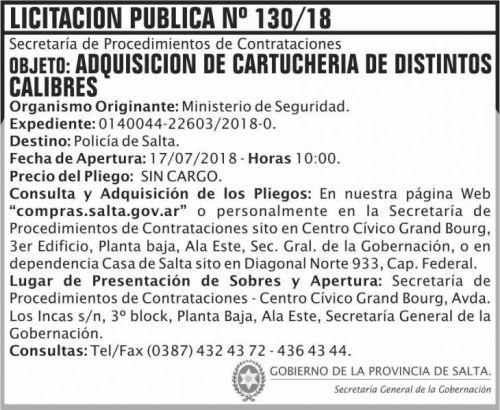 Licitación: Licitacion Publica 130 SGG MS