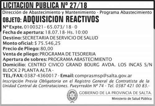 Licitación: Licitacion Publica 27 MSP
