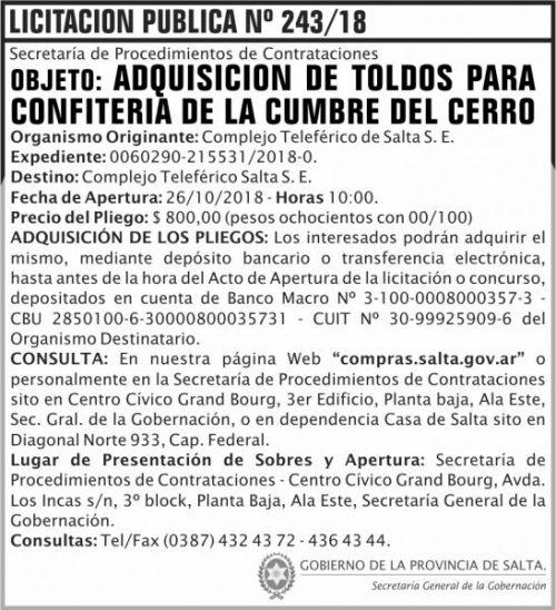Licitación: Licitacion Publica 243 SGG CTS 2x8