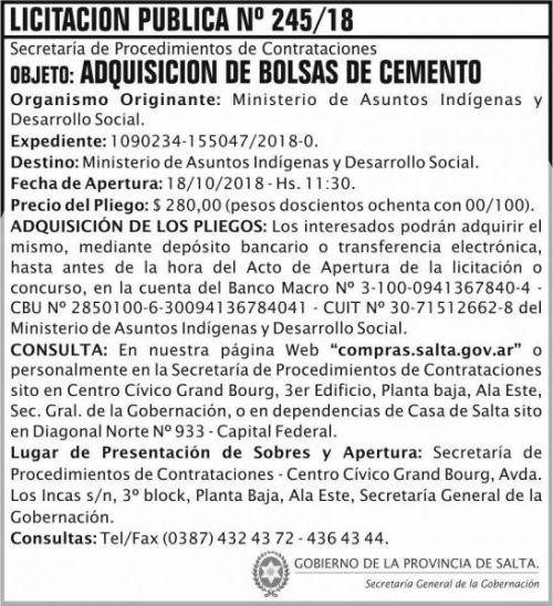 Licitación: Licitacion Publica 245 SGG MAIDC 2x8