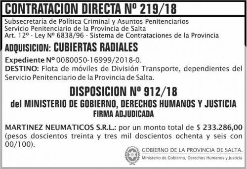 Licitación: Contratacion Directa Adjudicada 219 SPPS MDHJ 2x5