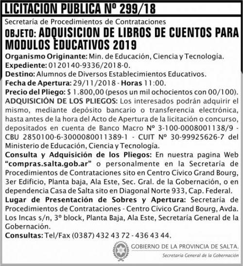 Licitación: Licitacion Publica 299 SGG MECT 2x8