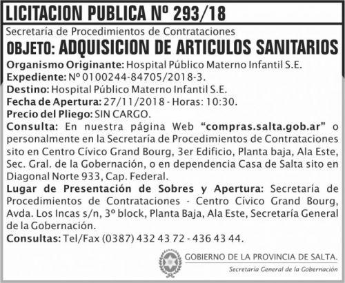 Licitación: Licitacion Publica 293 SGG HPMI 2x6