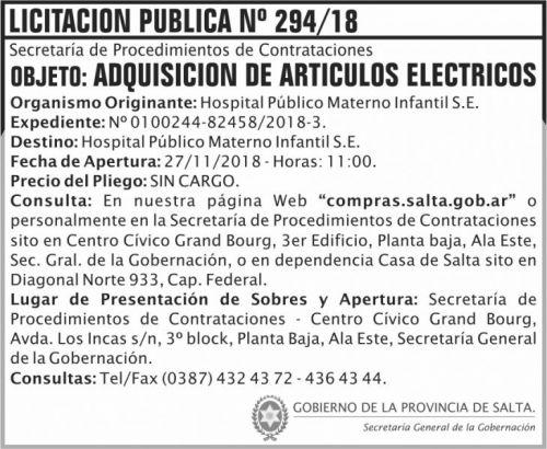 Licitación: Licitacion Publica 294 SGG HPMI 2x6