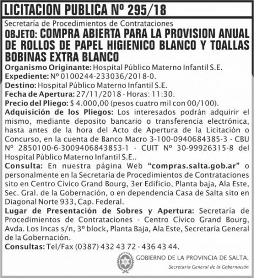 Licitación: Licitacion Publica 295 SGG HPMI 2x8