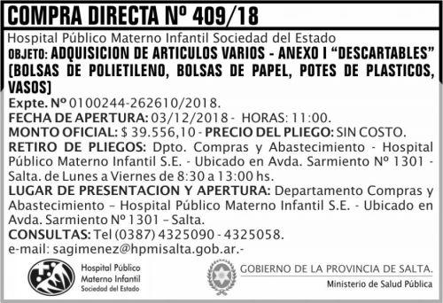 Licitación: Compra Directa 409 MSP HPMI 2x5 ND