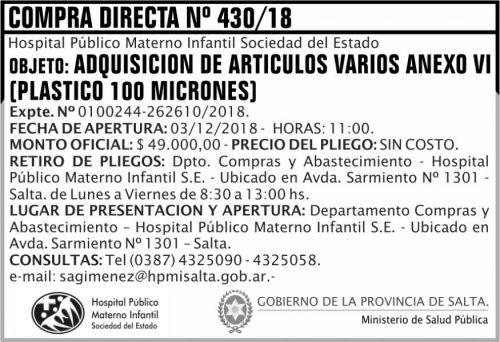 Licitación: 5 Compra Directa 430 MSP HPMI 2x5 ND