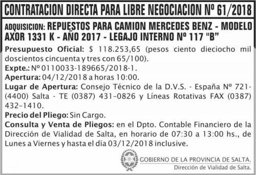 Licitación: Contratacion directa libre negociacion 61 DVS 2x5 ND