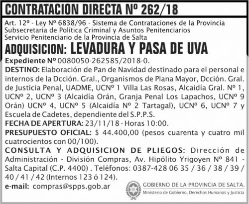 Licitación: Contratacion Directa 262 SPPS MDHJ 2x6 ND