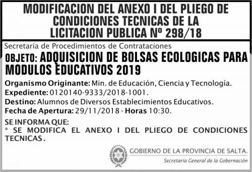 Licitación: Licitacion Publica 298 MODIFICACION DE ANEXO SGG