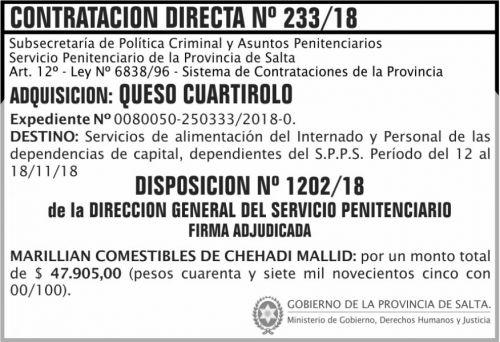 Licitación: Contratacion Directa Adjudicada 233 SPPS MDHJ 2x5