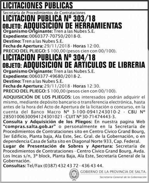 Licitación: Licitacion Publica 303 Y 304 SGG TN 2x9 ND