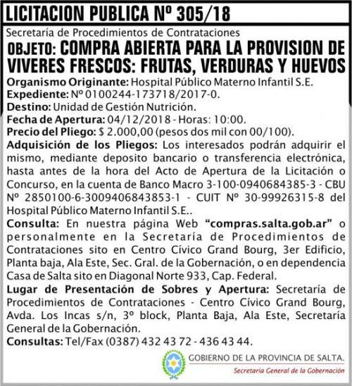 Licitación: Licitacion Publica 305 SGG HPMI 2x8 ND