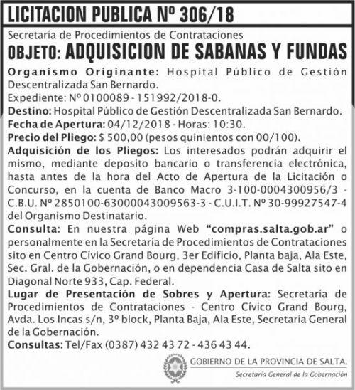 Licitación: 5 Licitacion Publica 306 SGG SB 2x8 ND