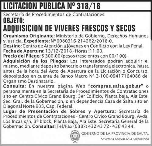 Licitación: Licitacion Publica 318 SGG MGDHJ SP 2x7 ND