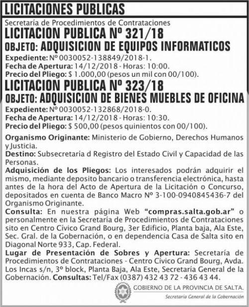 Licitación: Licitacion Publica 321 Y 323 SGG  MGDHJ SP 2x9 ND