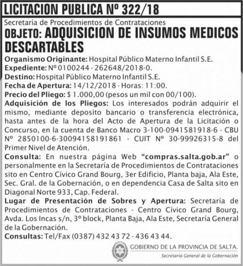 Licitación: Licitacion Publica 322 SGG HPMI 2x8  ND