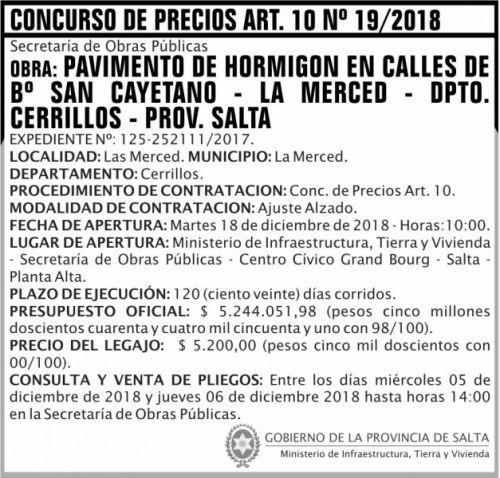 Licitación: Concurso de Precios ART 10 Nº 19 MITV 2x7