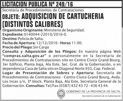 Licitación: Licitación Pública Nº 249/16