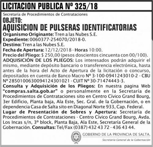 Licitación: Licitacion Publica 325 SGG TN 2x7 ND