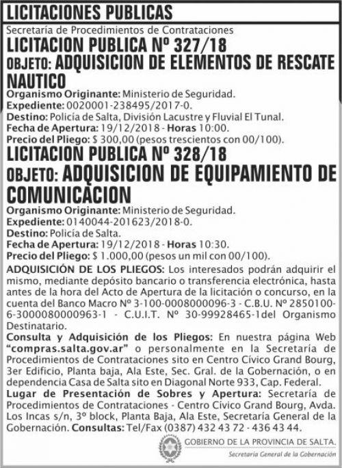 Licitación: Licitacion Publica 327 y 328 SGG MS 2x10 ND