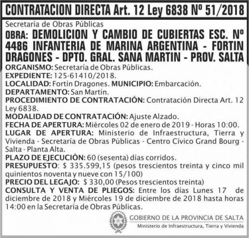Licitación: Contratacion Directa 51 MITV 2x7 ND